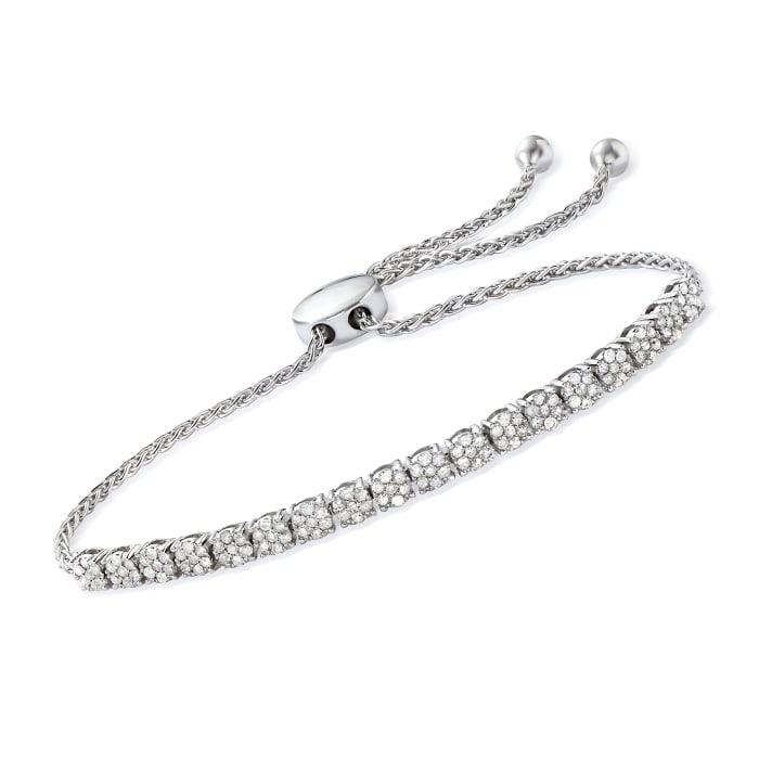 1.00 ct. t.w. Diamond Cluster Bolo Bracelet in Sterling Silver