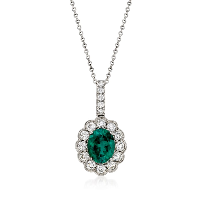 C. 1990 Vintage 1.69 Carat Green Tourmaline and .83 ct. t.w. Diamond Pendant Necklace in 18kt White Gold