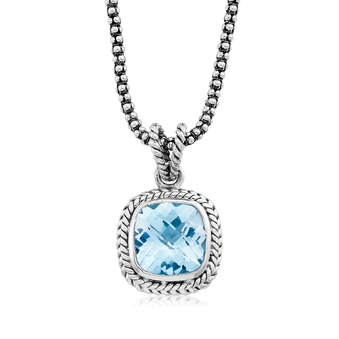 4.50 Carat Swiss Blue Topaz Rope Pendant Necklace in Sterling Silver