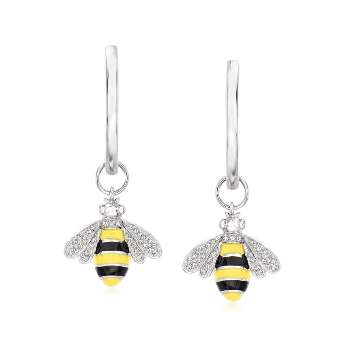 .15 ct. t.w. Diamond Bumblebee Hoop Drop Earrings in Sterling Silver