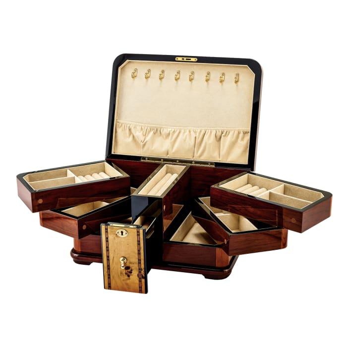 Mapa Burlwood Veneer Locking Jewelry Box