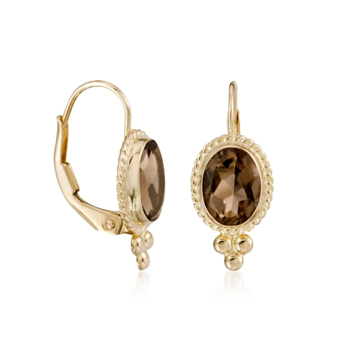 2.50 ct. t.w. Smoky Quartz Rope Edge Earrings in 14kt Yellow Gold
