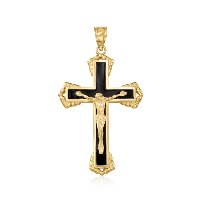 14kt Yellow Gold and Black Enamel Crucifix Pendant