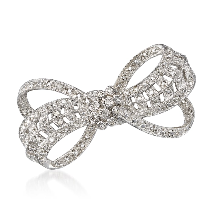 .20 ct. t.w. Diamond Bow Pin in Sterling Silver