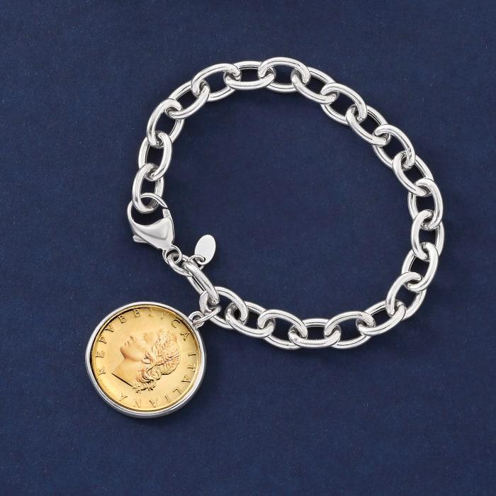 Italian Genuine 20-Lira Coin Charm Bracelet in Sterling Silver