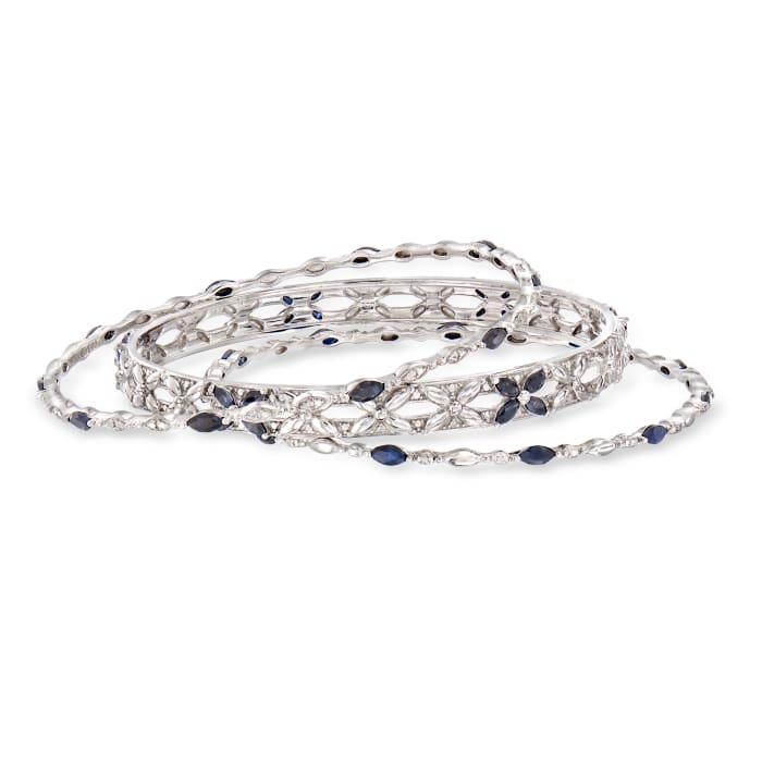 5.00 ct. t.w. Sapphire Jewelry Set: Three Bangle Bracelets in Sterling Silver
