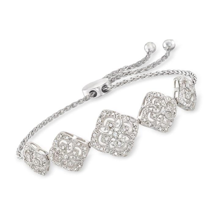 .35 ct. t.w. Diamond Filigree Station Bolo Bracelet in Sterling Silver