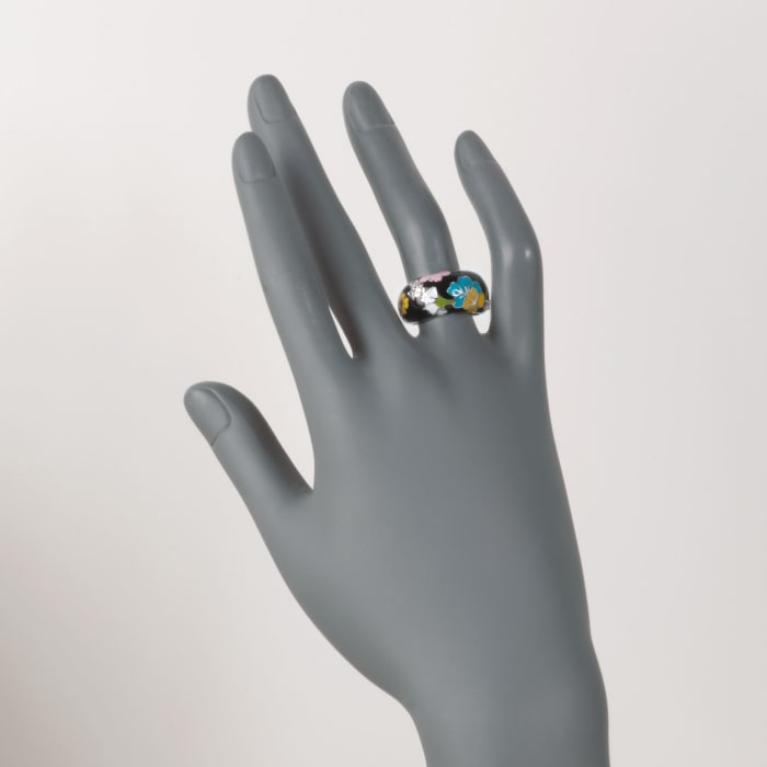 """Belle Etoile """"Constellations: Sakura"""" Multicolored Enamel and .15 ct. t.w. CZ Ring in Sterling Silver"""