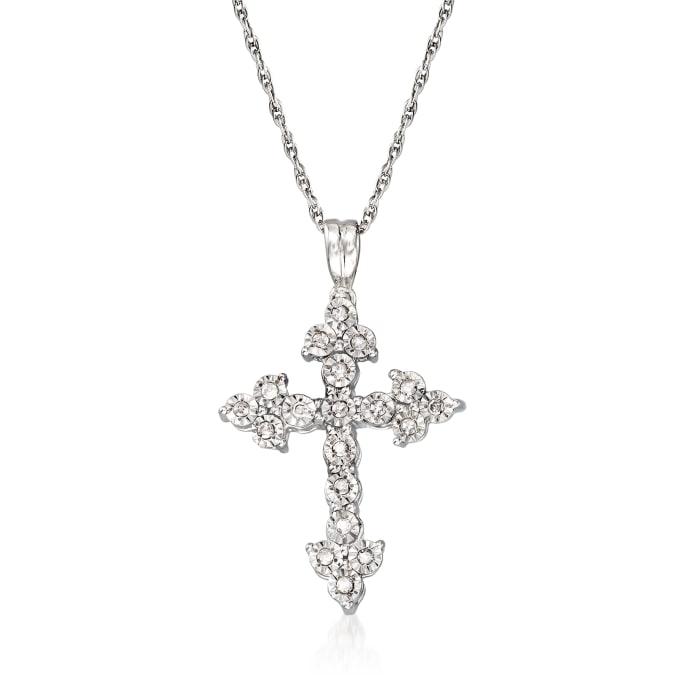.15 ct. t.w. Diamond Cross Pendant Necklace in Sterling Silver