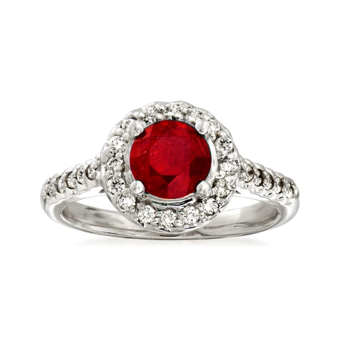 1.30 Carat Ruby and .33 ct. t.w. Diamond Halo Ring in 14kt White Gold
