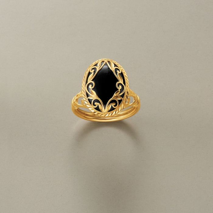 Black Onyx Scroll Ring in 14kt Yellow Gold