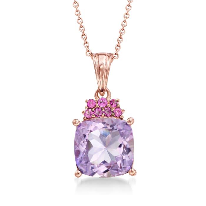 4.90 Carat Amethyst and .30 ct. t.w. Rhodolite Garnet Pendant Necklace in 18kt Rose Gold Over Sterling