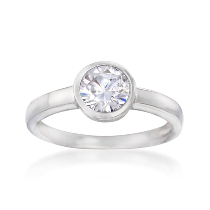 1.00 Carat Bezel-Set CZ Ring in Sterling Silver