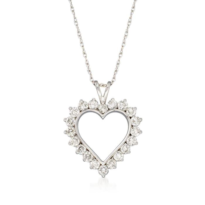 1.00 ct. t.w. Diamond Open-Space Heart Pendant Necklace in Sterling Silver