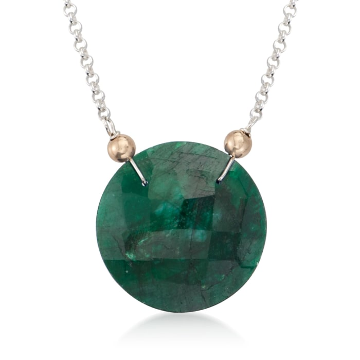20.00 Carat Emerald Pendant Necklace in 14kt Yellow Gold and Sterling Silver