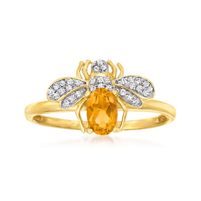 .40 Carat Citrine and .10 ct. t.w. Diamond Bee Ring in 14kt Yellow Gold