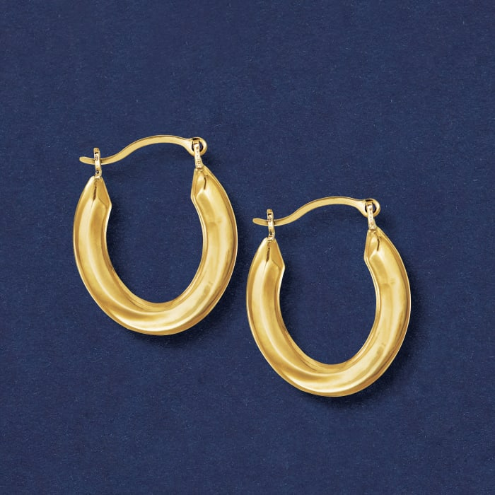 14kt Yellow Gold Small Oval Hoop Earrings