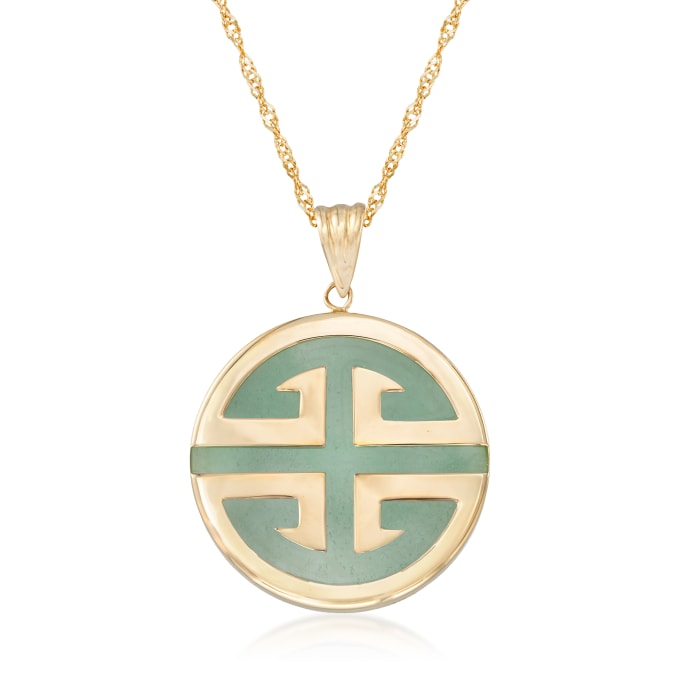 """Jade """"Longevity"""" Chinese Symbol Circle Pendant Necklace in 14kt Gold"""