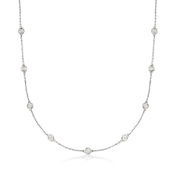 2.00 ct. t.w. Bezel-Set Diamond Station Necklace in Sterling Silver