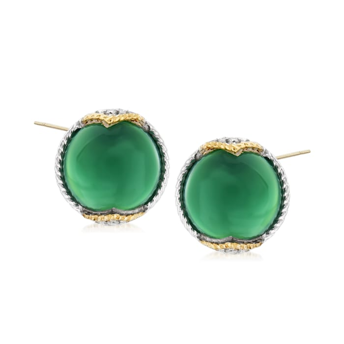 """Andrea Candela """"Dulcitos"""" Green Agate Earrings in Sterling Silver and 18kt Yellow Gold"""