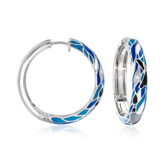 Belle Etoile Migration Enamel Hoop Earrings Sterling Silver