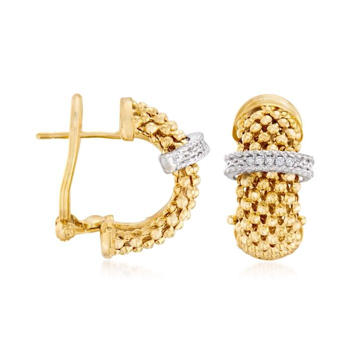 """Phillip Gavriel """"Popcorn"""" .10 ct. t.w. Diamond Hoop Earrings in 14kt Yellow Gold"""