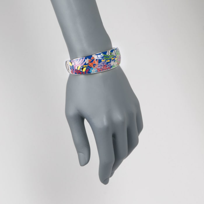 "Belle Etoile ""Seahorse"" Multicolored Enamel and .10 ct. t.w. CZ Bangle Bracelet in Sterling Silver"