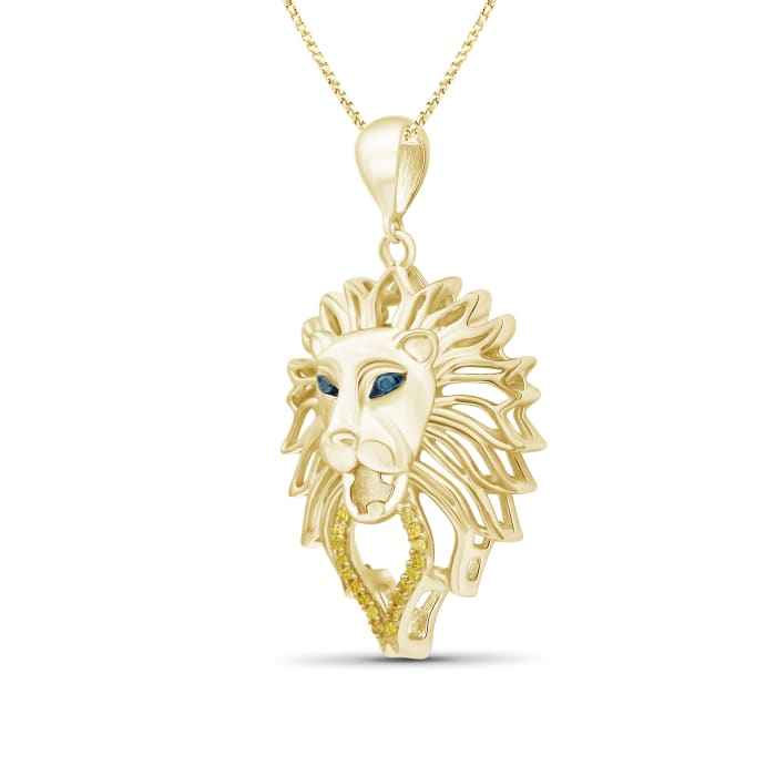 18kt Yellow Gold Over Sterling Silver Lion Head Pendant Necklace with Diamond Accents
