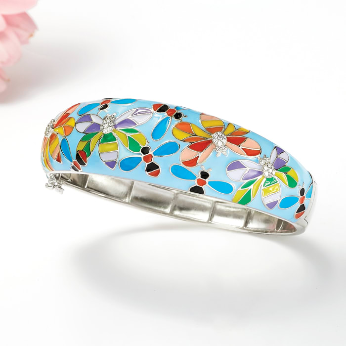 .20 ct. t.w. White Topaz and Multicolored Enamel Fluttery Critter Bangle Bracelet in Sterling Silver