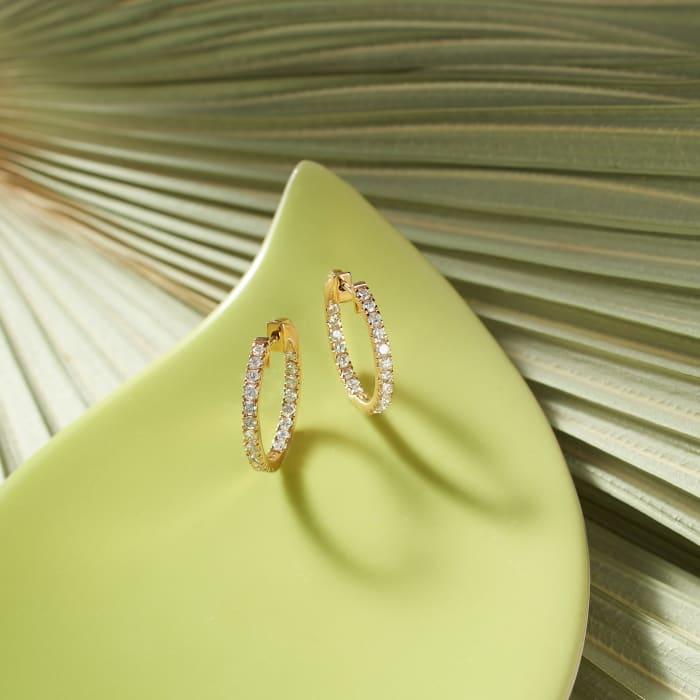 1.50 ct. t.w. Diamond Inside-Outside Hoop Earrings in 14kt Yellow Gold