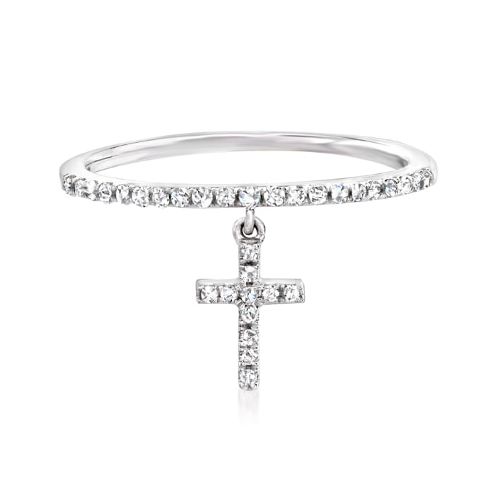 .16 ct. t.w. Diamond Cross Charm Ring in 14kt White Gold