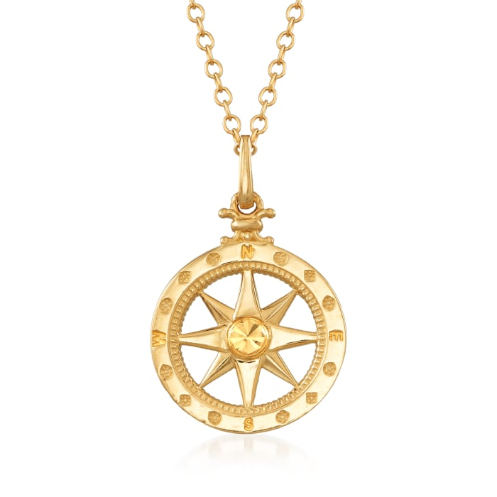 14kt Yellow Gold Compass Pendant Necklace