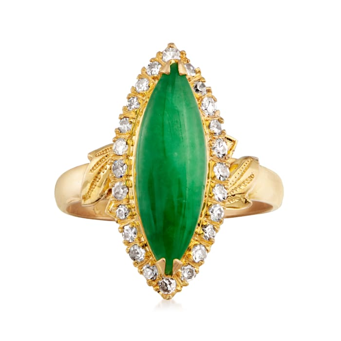 C. 1970 Vintage Jade and .30 ct. t.w. Diamond Ring in 22kt Yellow Gold
