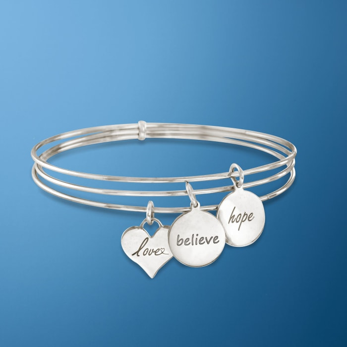 Italian Sterling Silver Connected Charm Bangles Bracelet
