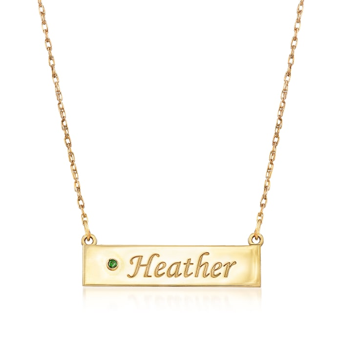 Birthstone Name Necklace in 14kt Yellow Gold