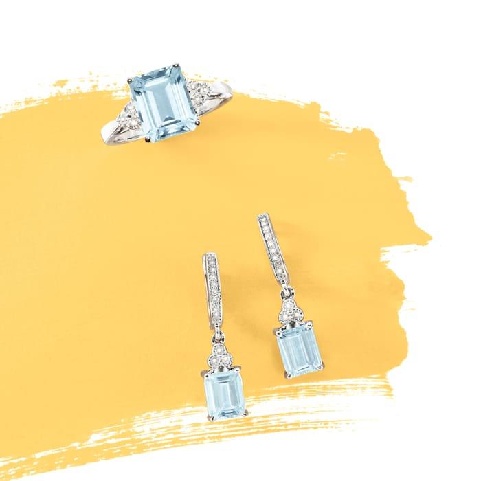 3.00 Carat Aquamarine and .10 ct. t.w. Diamond Ring in 14kt White Gold