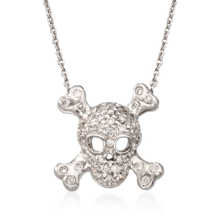 """Roberto Coin """"Tiny Treasures"""" .20 ct. t.w. Pave Diamond Skull and Crossbone Pendant Necklace in 18kt White Gold"""