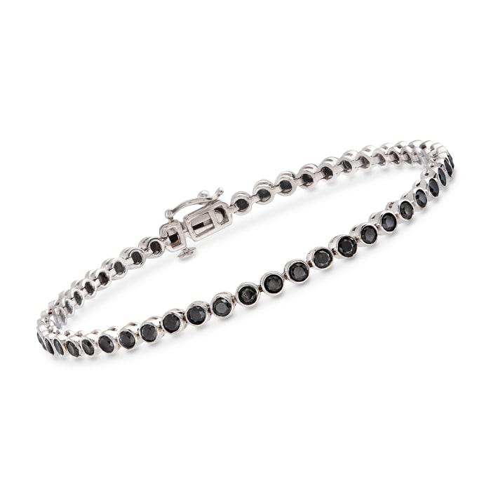 3.00 ct. t.w. Bezel-Set Black Diamond Tennis Bracelet in Sterling Silver