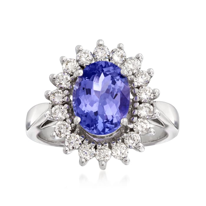3.50 Carat Tanzanite and .80 ct. t.w. Diamond Halo Ring in 14kt White Gold