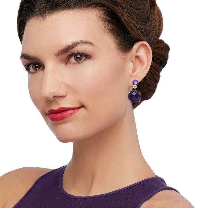 33.50 ct. t.w. Amethyst and .50 ct. t.w. Peridot Drop Earrings in Sterling Silver
