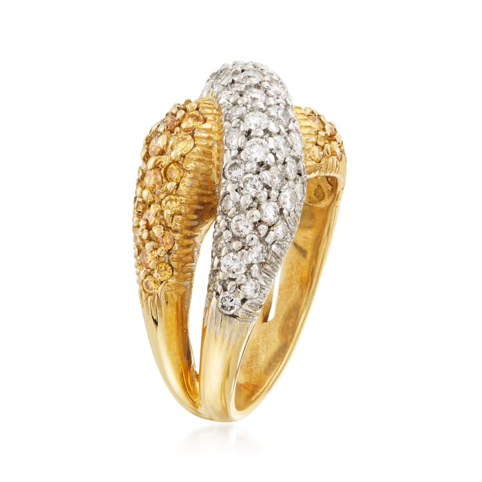C. 1990 Vintage 1.75 ct. t.w. Yellow and White Diamond Crossover Ring in 14kt Two-Tone Gold