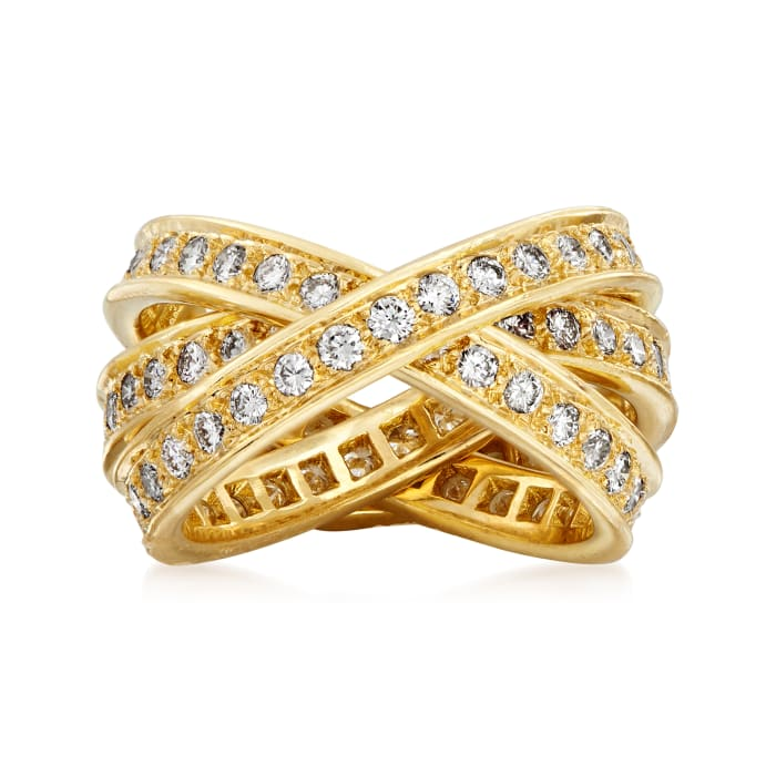 C. 1980 Vintage Cartier 1.55 ct. t.w. Diamond Trinity Ring in 18kt Yellow Gold