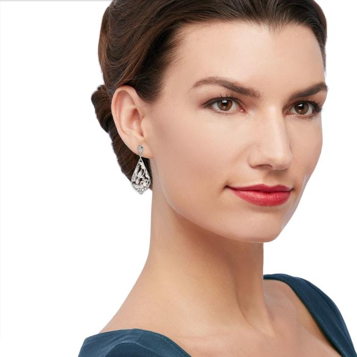 """Belle Etoile """"Empress"""" .20 ct. t.w. CZ Drop Earrings in Sterling Silver"""
