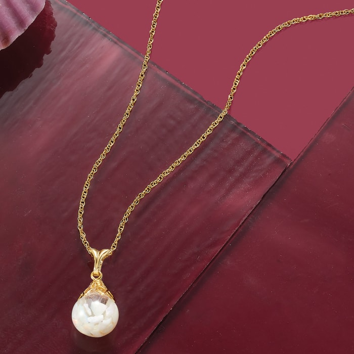 Floating Opal Pendant Necklace in 14kt Yellow Gold