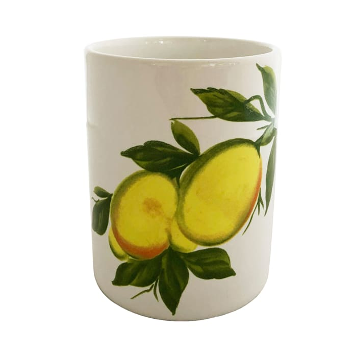 "Abbiamo Tutto ""Lemons"" Ceramic Wine Bottle/Kitchen Utensil Holder from Italy"