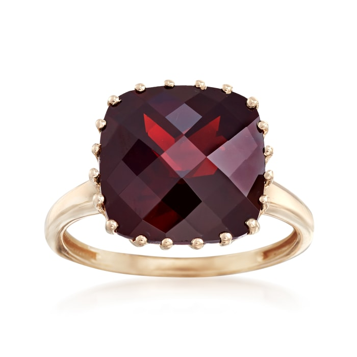 8.00 Carat Square Garnet Ring in 14kt Yellow Gold