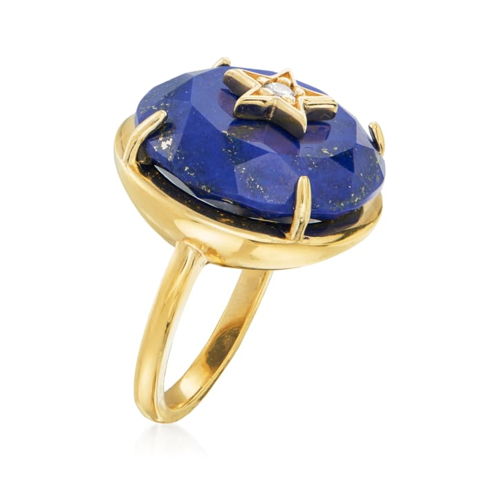 Lapis Star Ring with CZ Accents in 18kt Gold Over Sterling