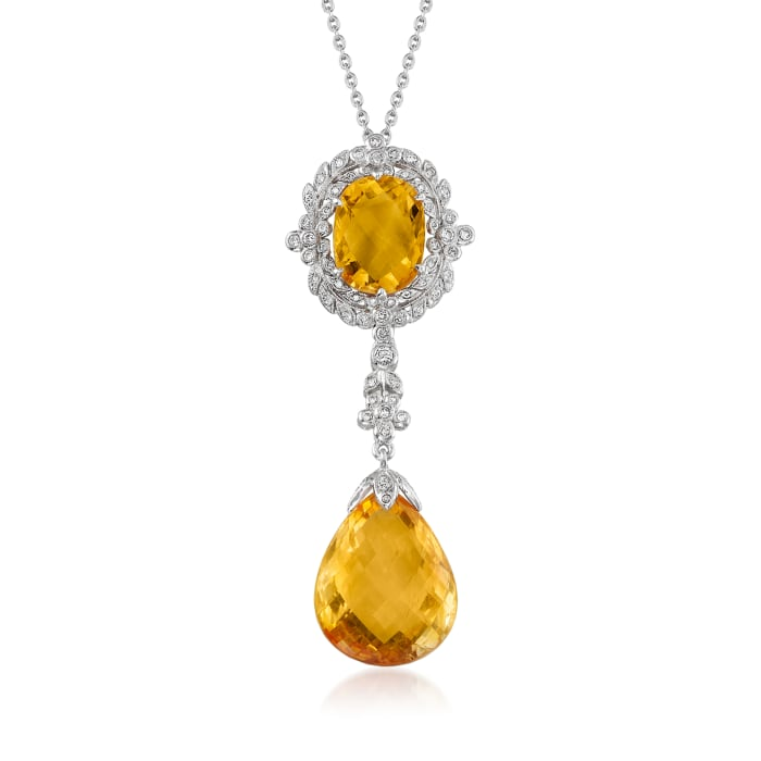C. 2000 Vintage 15.40 Citrine and .40 ct. t.w. Diamond Pendant Necklace in 18kt White Gold