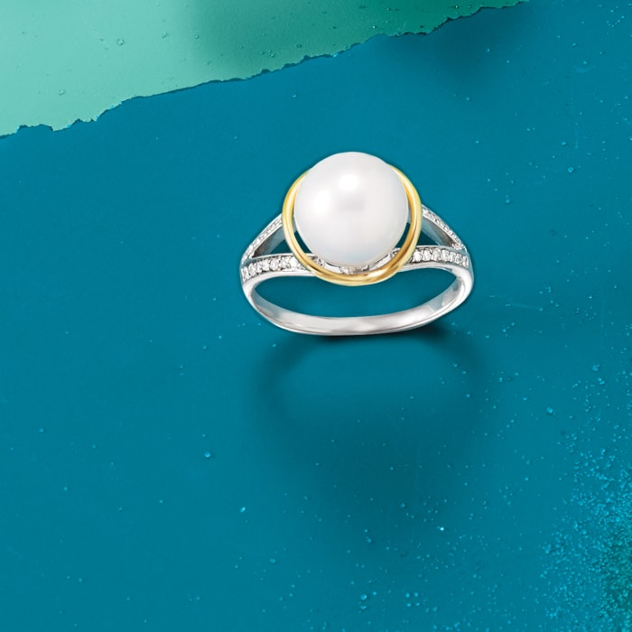 9.5-10mm Cultured Pearl and .13 ct. t.w. Diamond Ring in Sterling Silver and 14kt Yellow Gold
