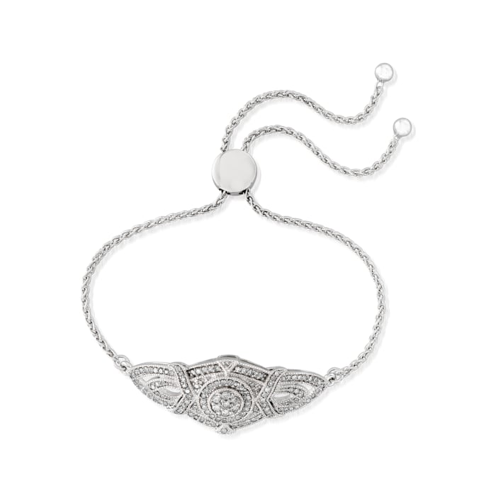 1.00 ct. t.w. Diamond Vintage-Inspired Bolo Bracelet in Sterling Silver